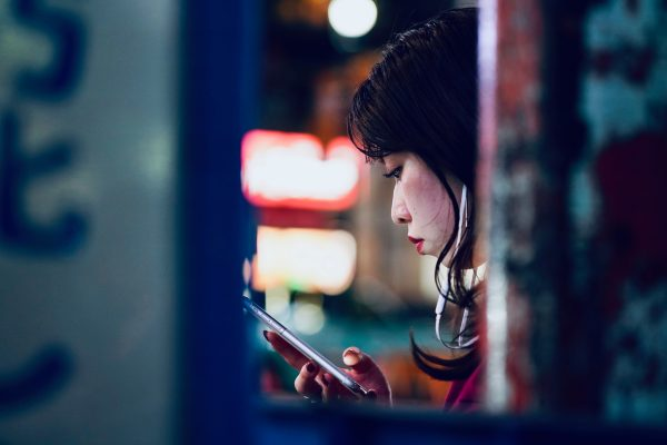 Japanese woman using smartphone